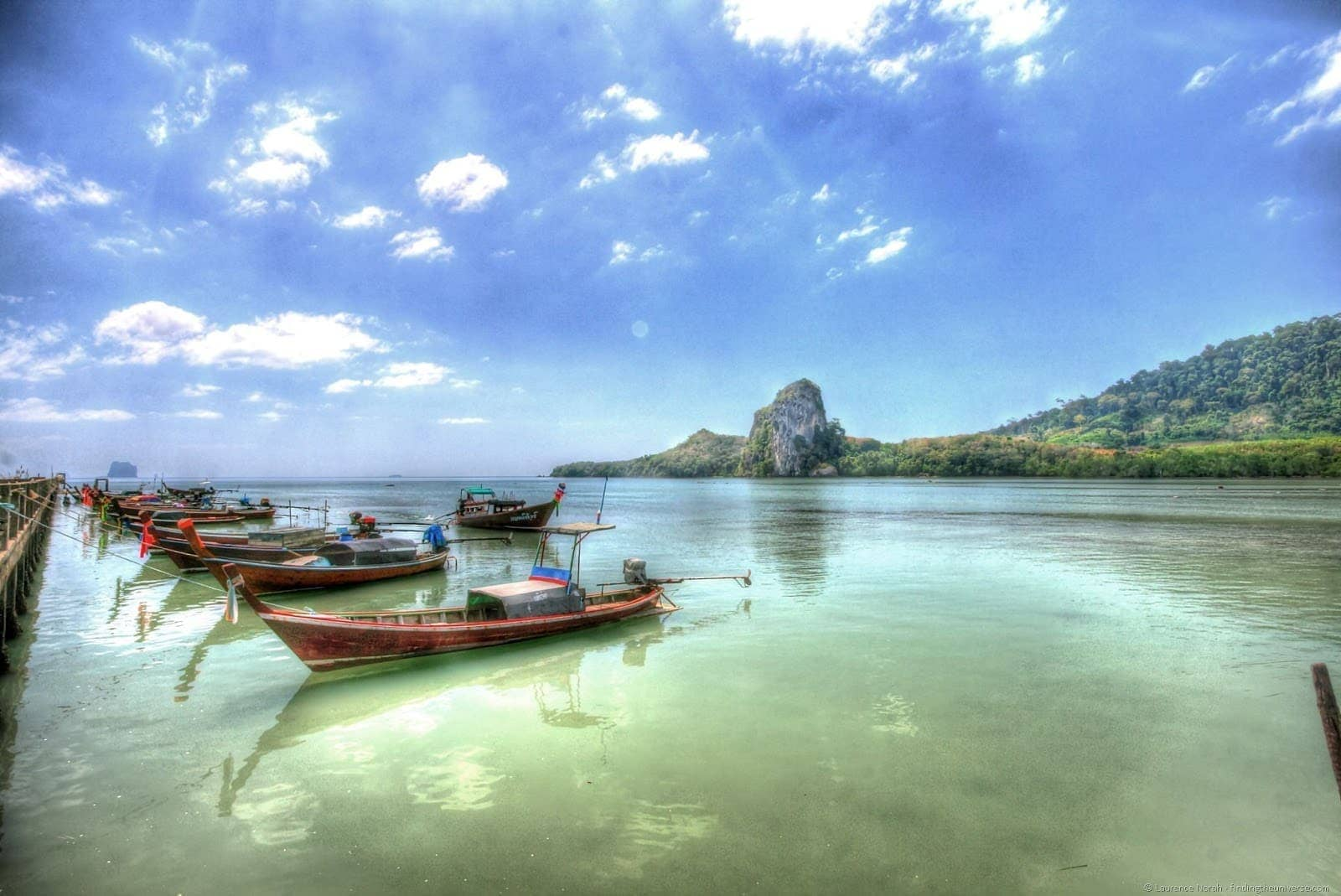 Fishing boats lined up at Koh libong pier Trang Thailand