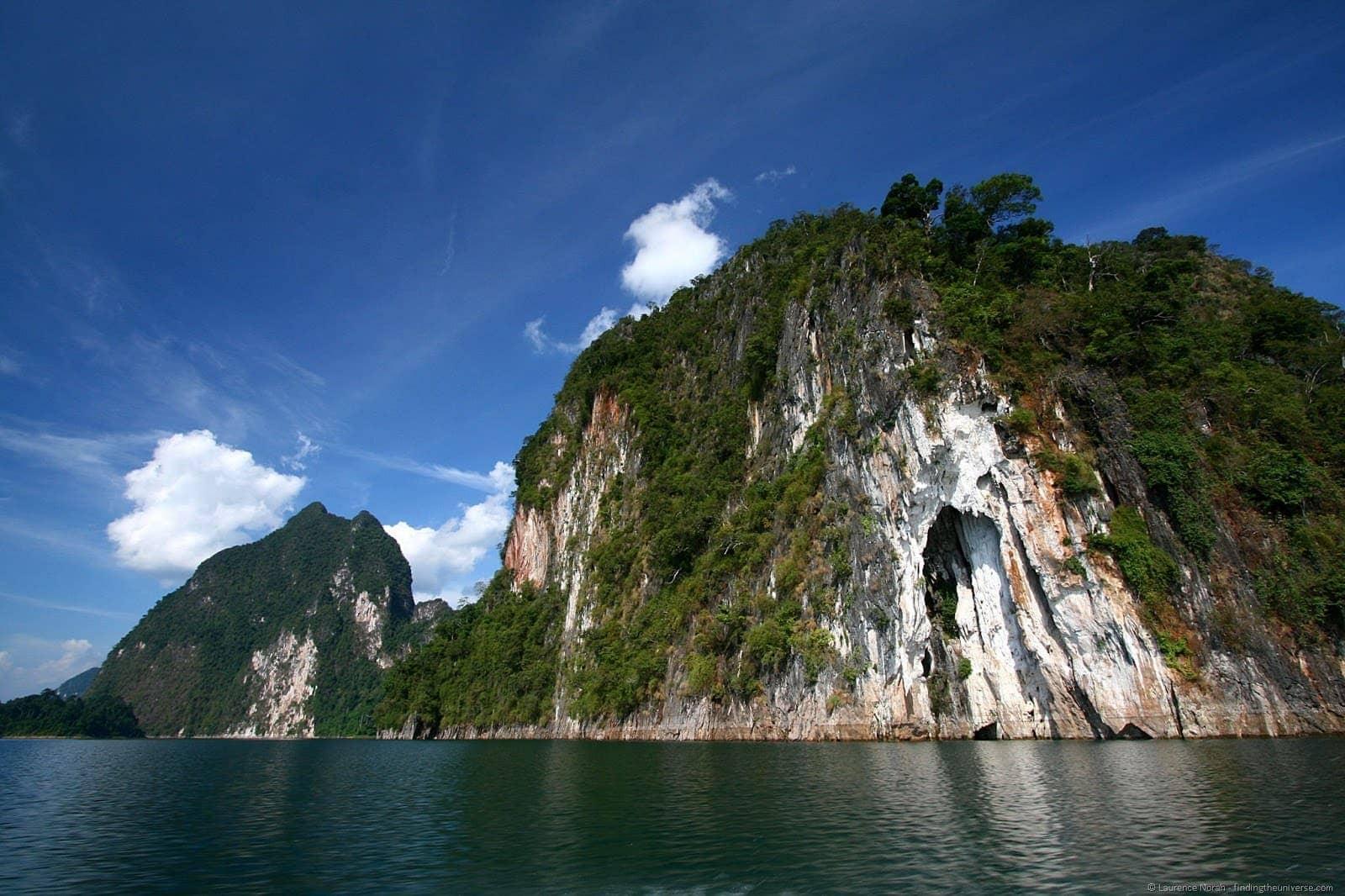 Khao sok limestone karst from boat Thailand