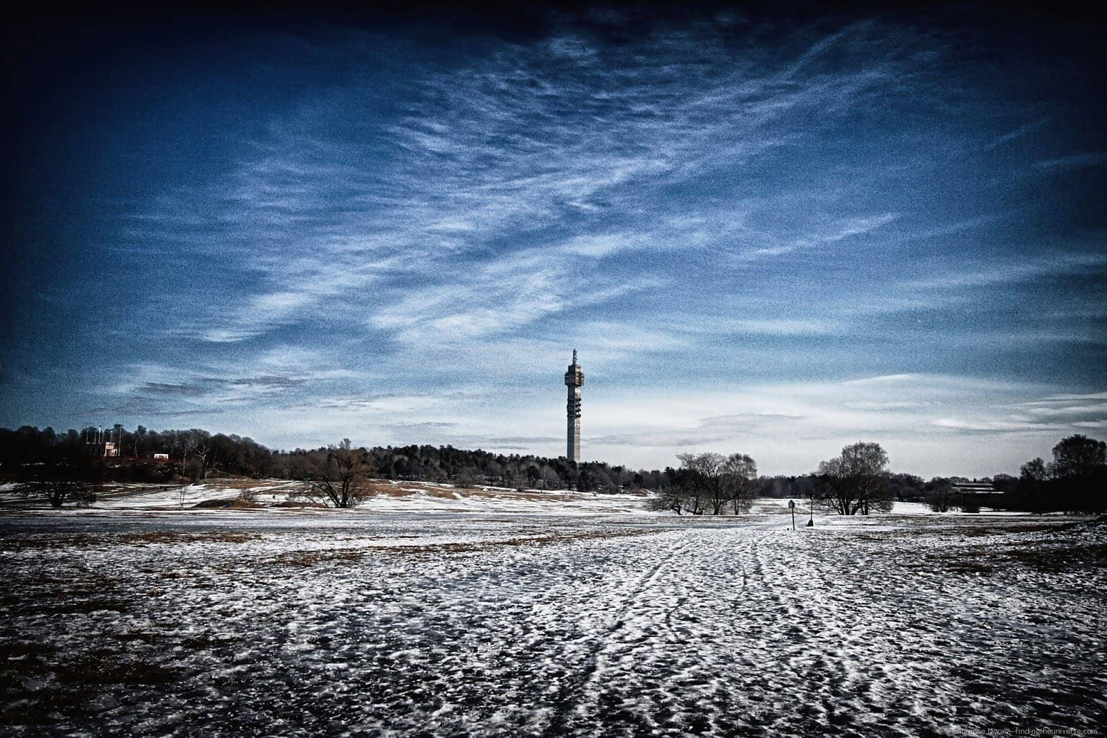 Stockholm Käknas TV Tower across snow