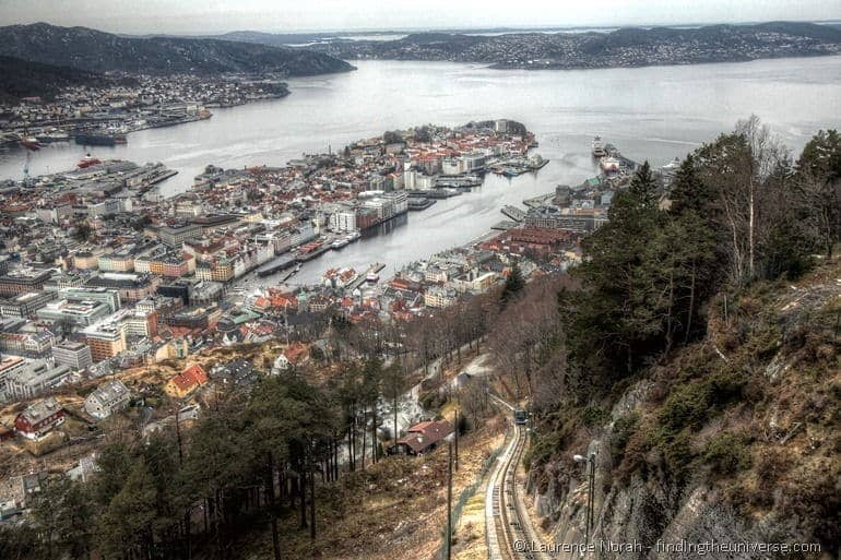 Day in Bergen Fløibanen funincular Norway