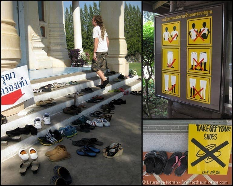 Thailand rules shoes sign
