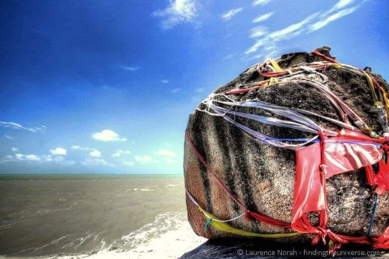 Giant boulder wrapped in coloured cloth Songkhla Thailand 3