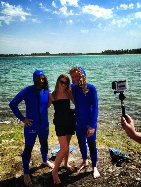 Laurence and Daniel in a blue wetsuit