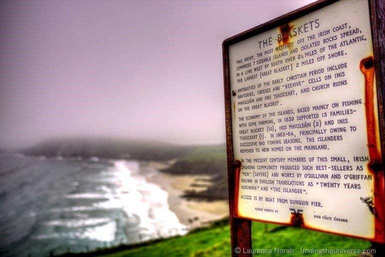 Blasket islands sign Dingle Peninsula