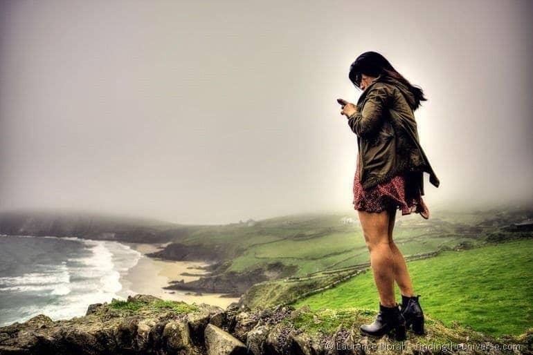 Kym tweeting beach cliffs field 2