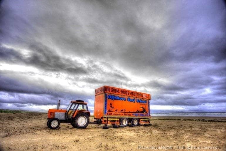 Surf tractor Inch beach Ireland