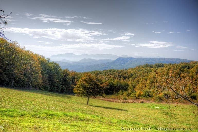 Autumnal colours Molise Italy tree field mountains