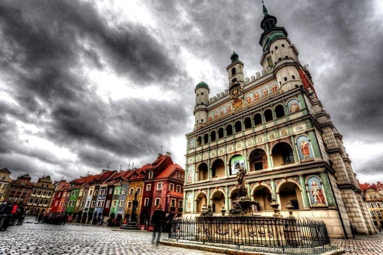 Things to do in Poznan - Poznan city square and town hall clouds