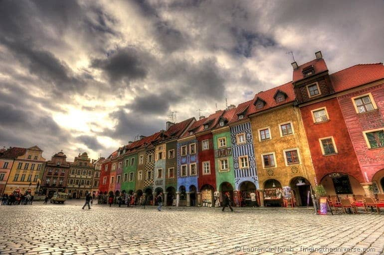 poznan city square colourful houses
