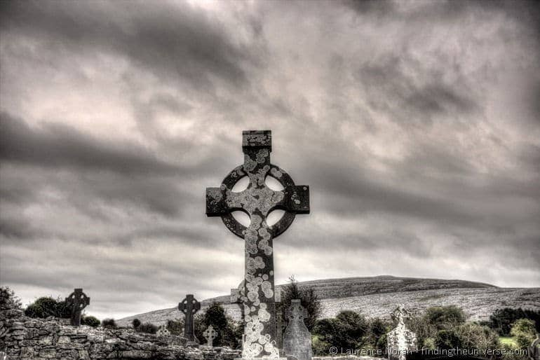 Visiting the Cliffs of Moher from Dublin: Celtic Cross in church graveyard