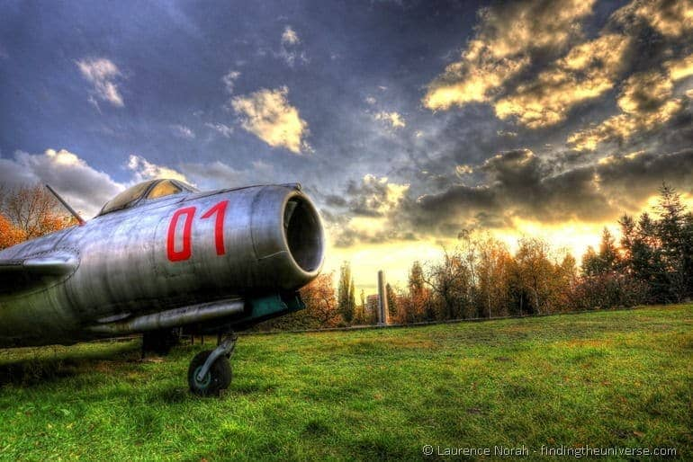 Plane at sunset poznan war cemetery museum