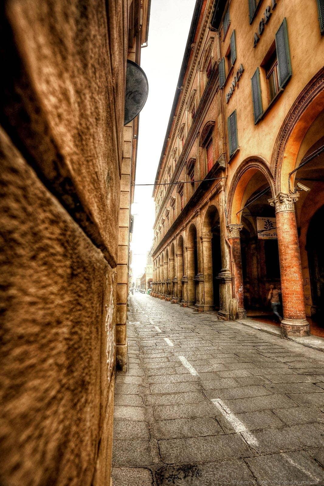 bologna street italy arches