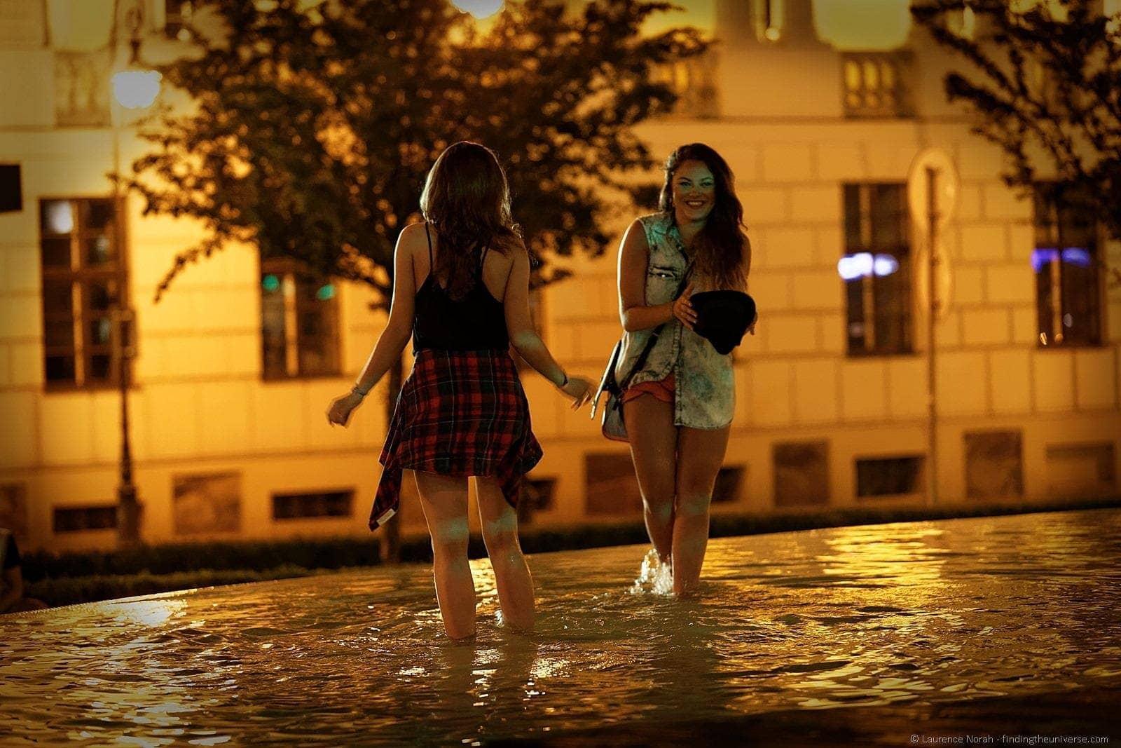 Girls dancing fountain freedom square malta festival poland