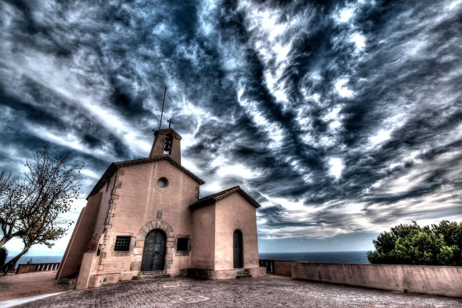 Church sunset costa brava sky clouds coast scaled