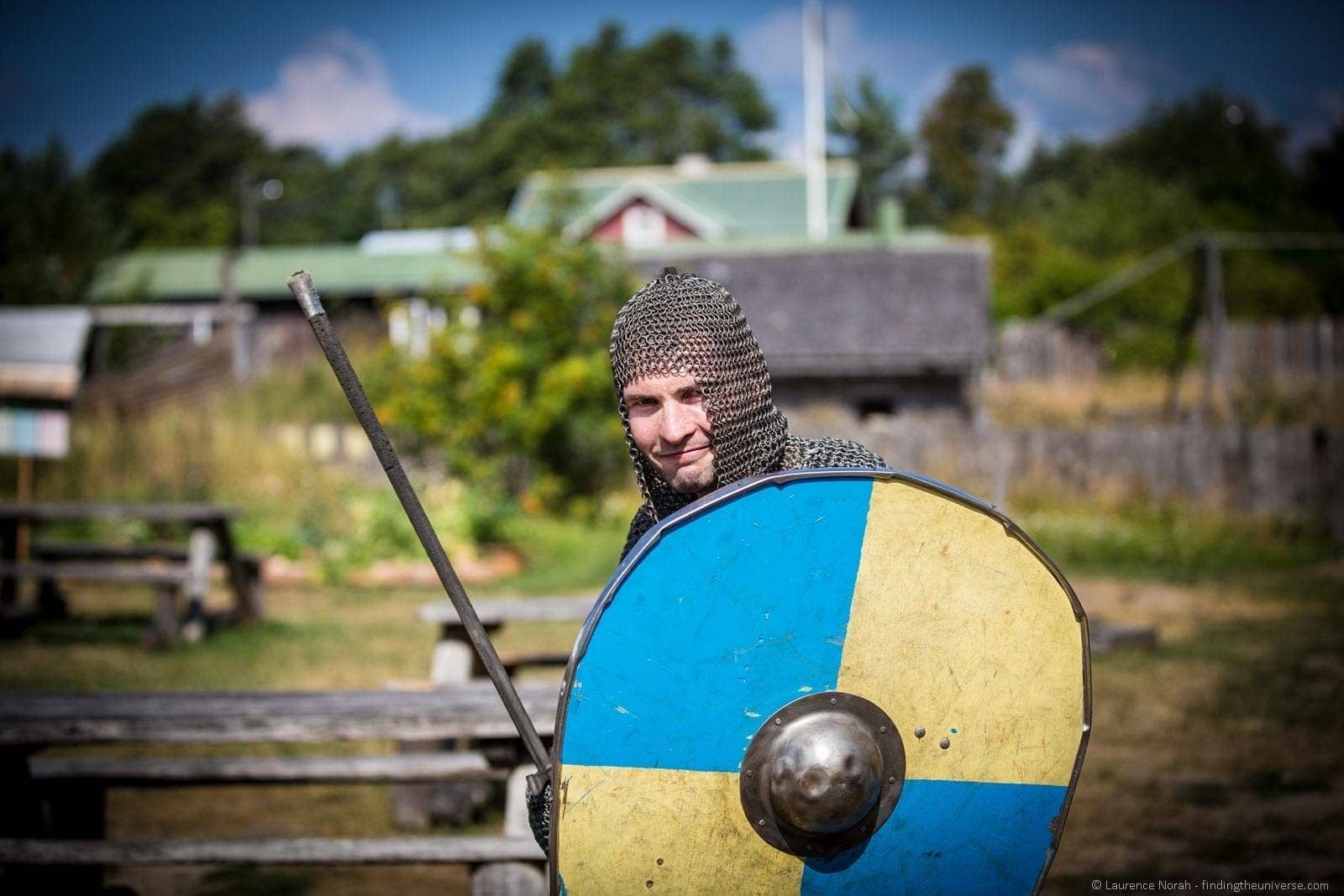Man in chain mail viking village Finland