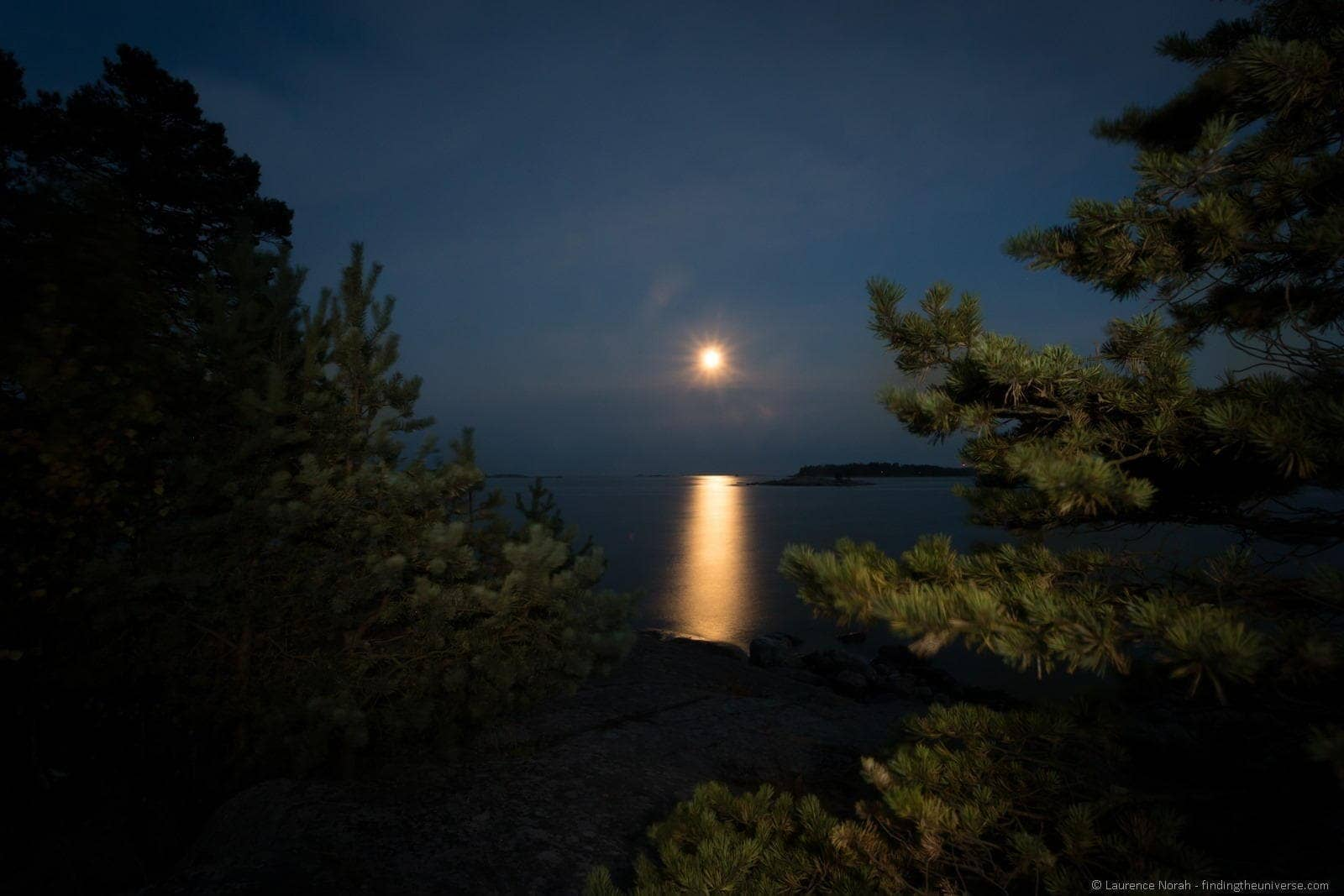 Moon rise over water finland