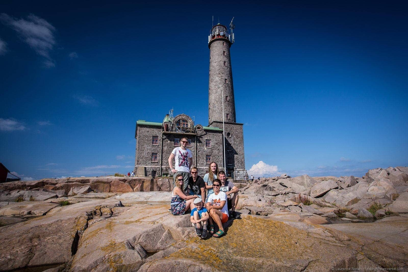 group in front of Bengkstar lighthouse