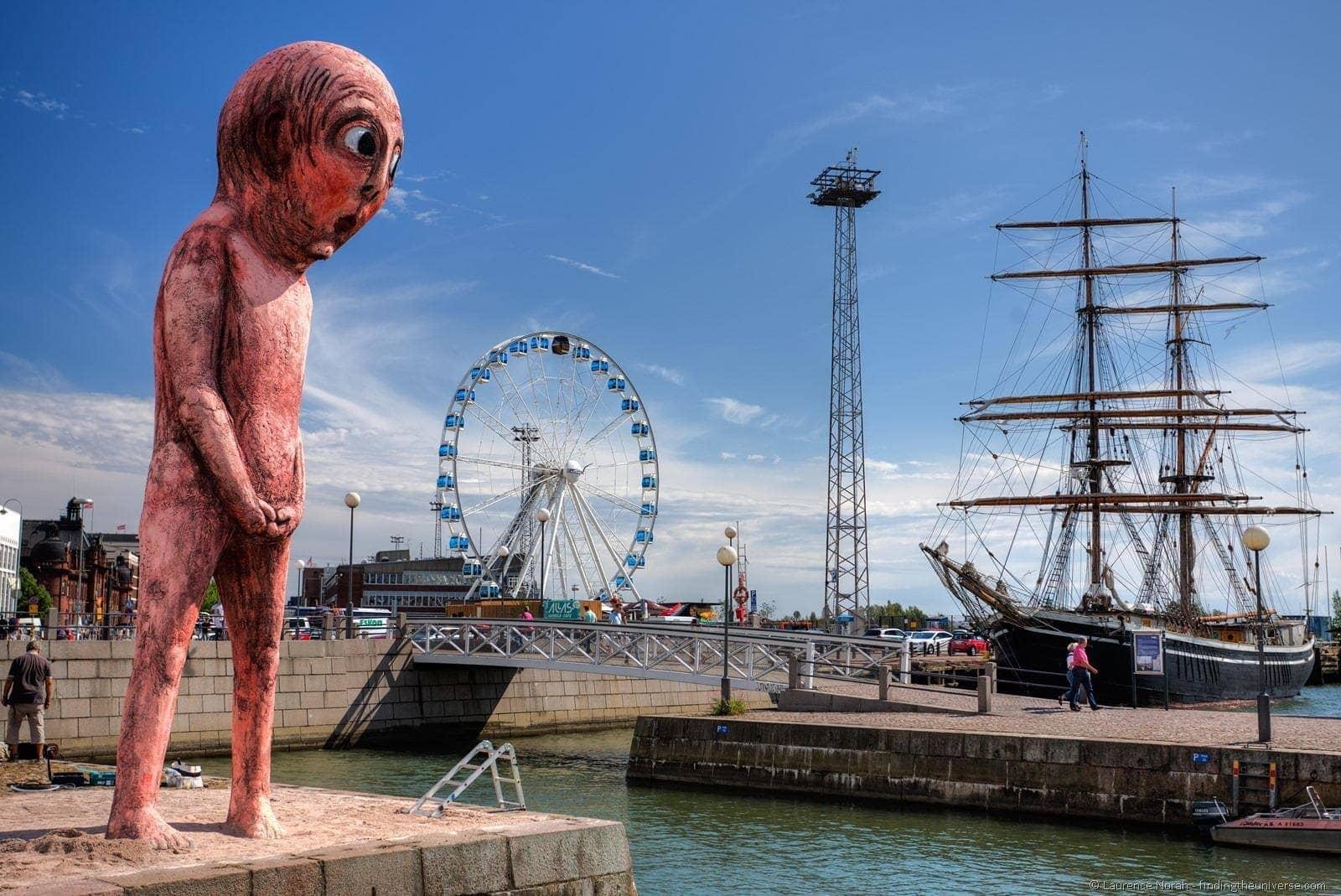 Naked pink man Statue in Helsinki