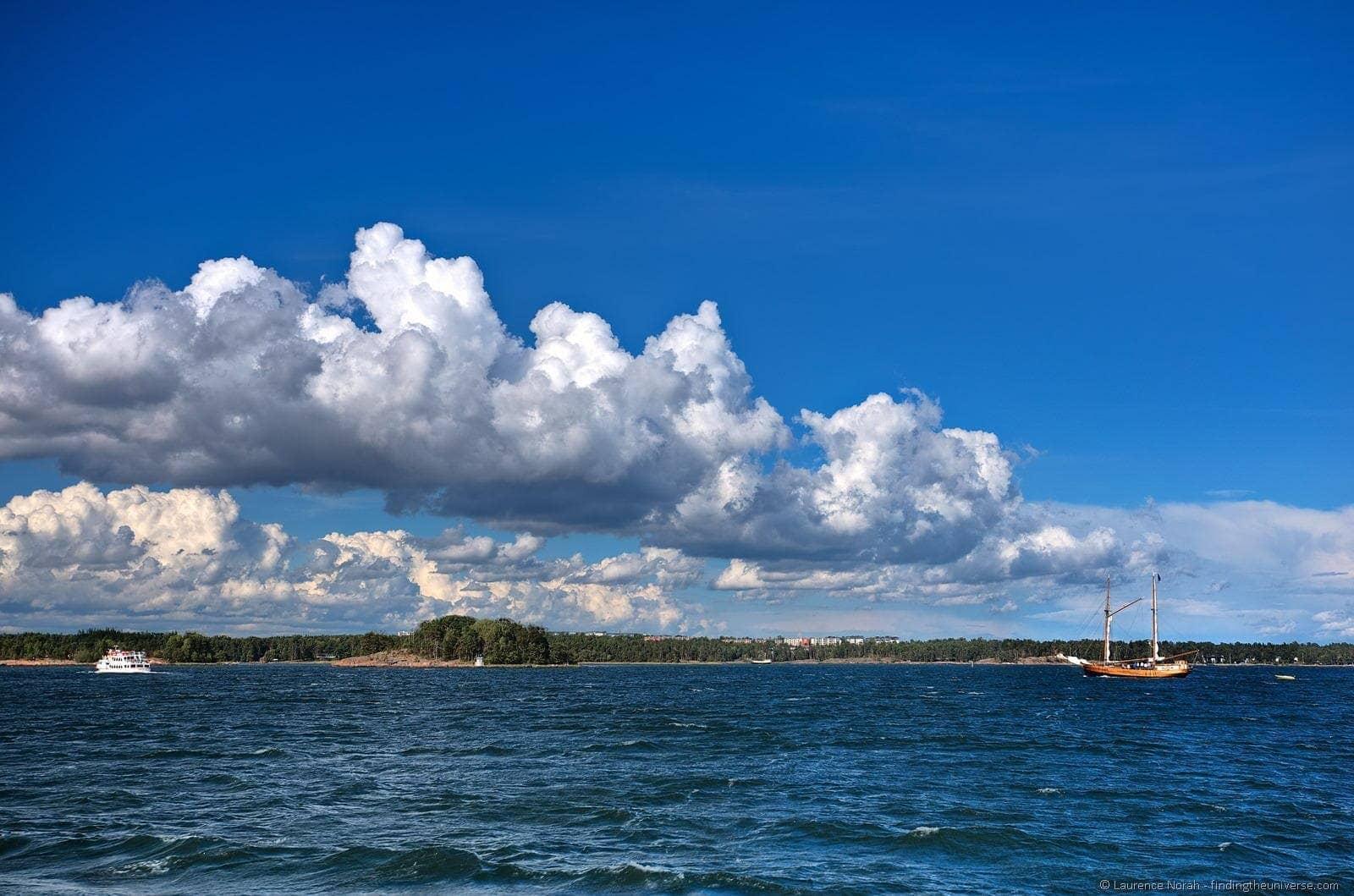 Sailing boat Helsinki Finland sea clouds