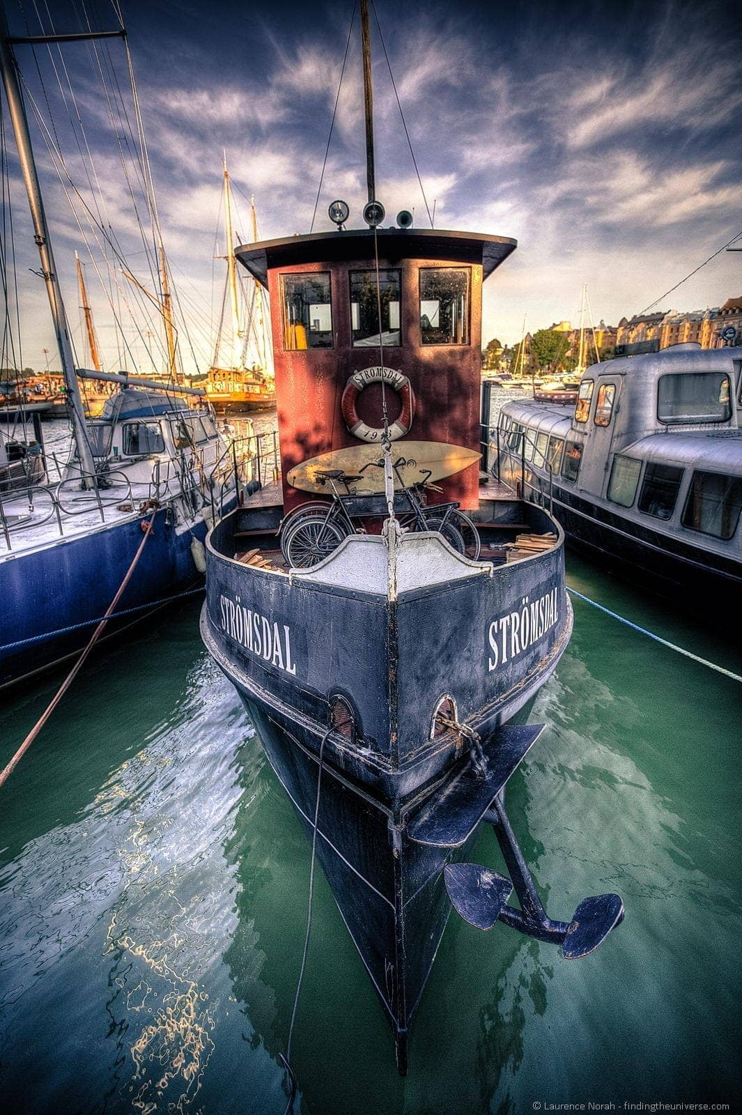 boat in helsinki harbour wide angle