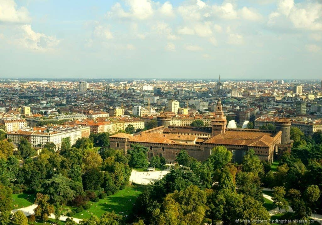 View from Branca Tower of Milan, Italy