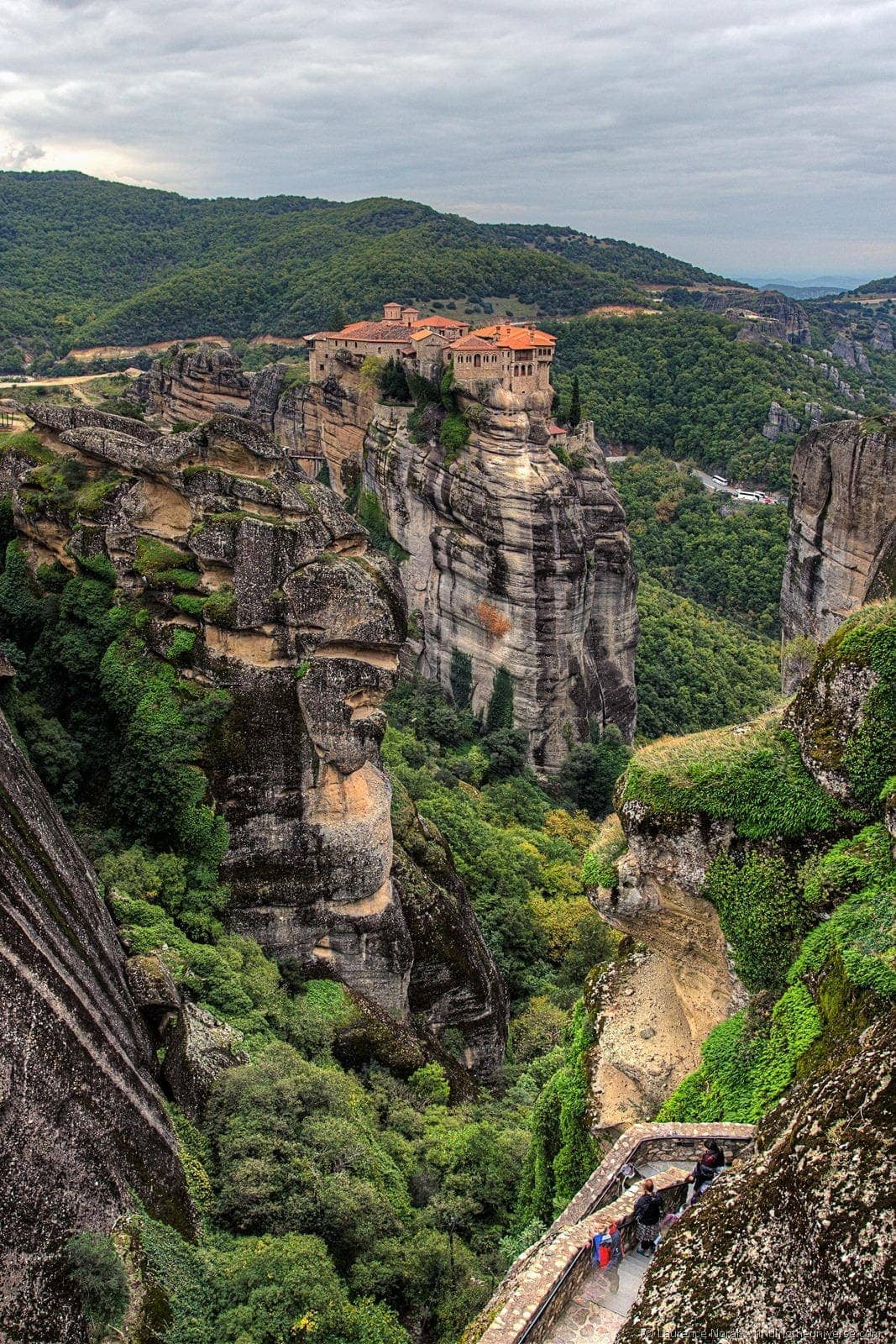 monastery in rock formation meteora greece vertical
