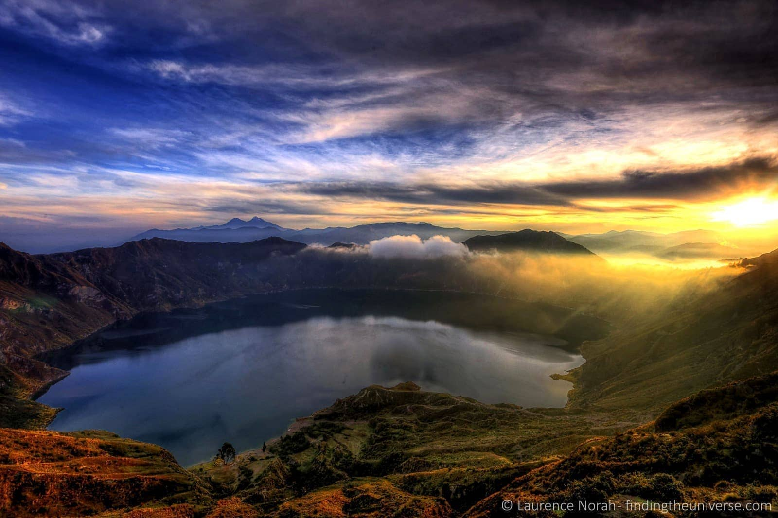 sunrise over Cuilatoa crater Ecuador scaled
