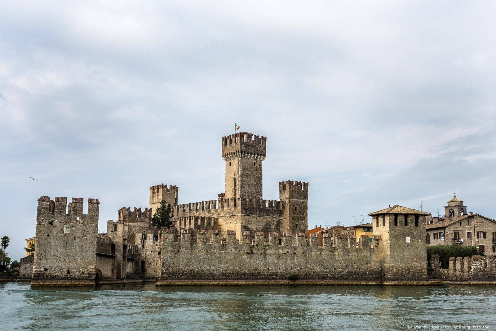 Scaliger castle from lake sirmione Italy lake garda water