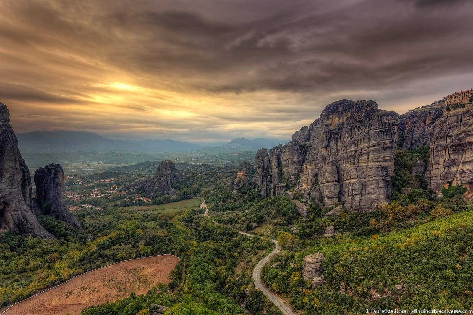 Sunset Meteora monastery rock formation greece scaled