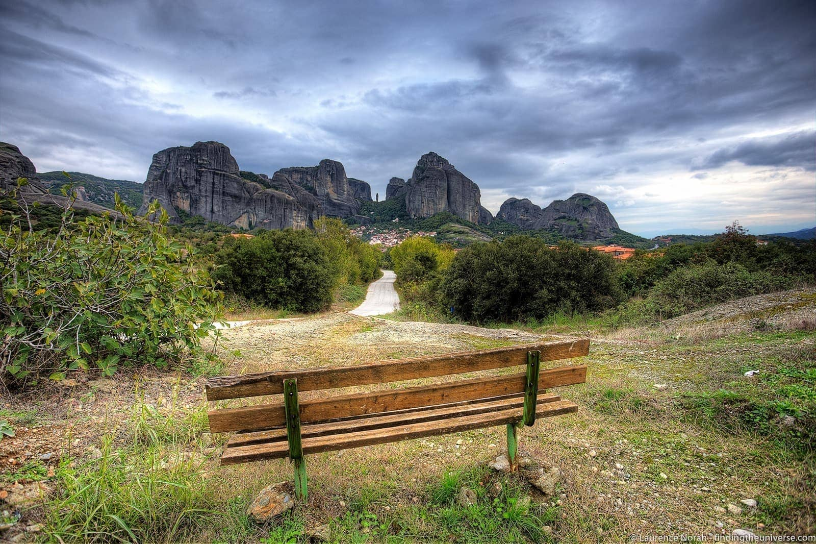 Bench in Meteora - scaled