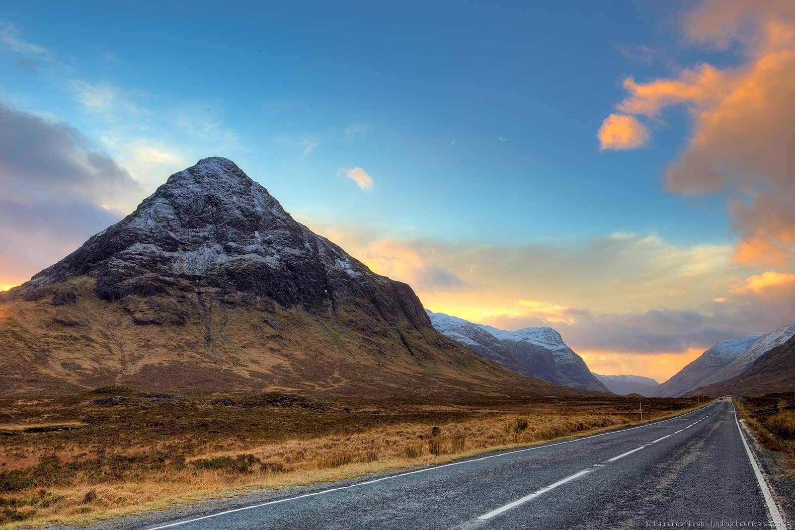 Glencoe sunset road highlands mountain scotland