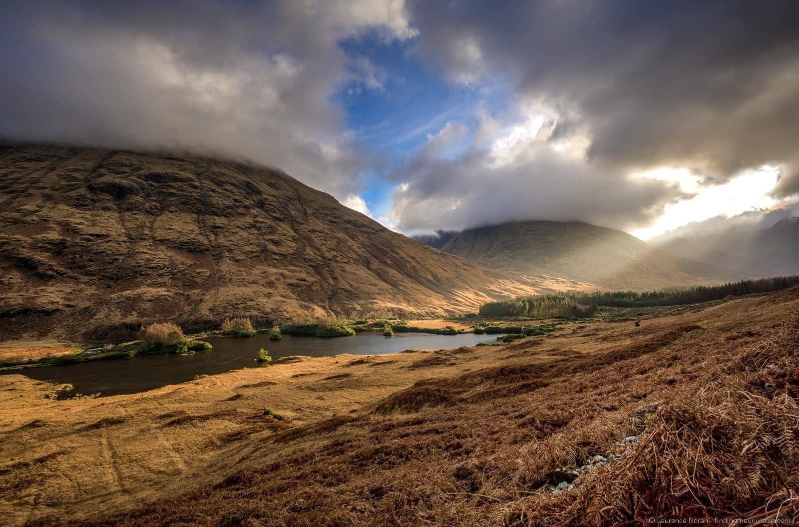 Light over loch glencoe highlands scotland
