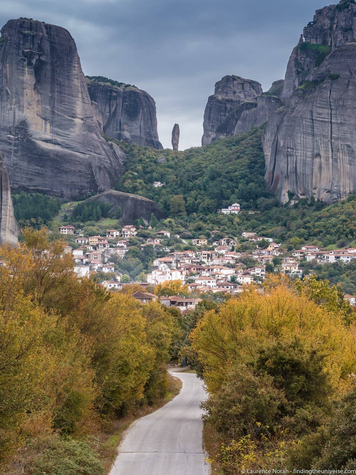 Meteora landscape Greece rocks road