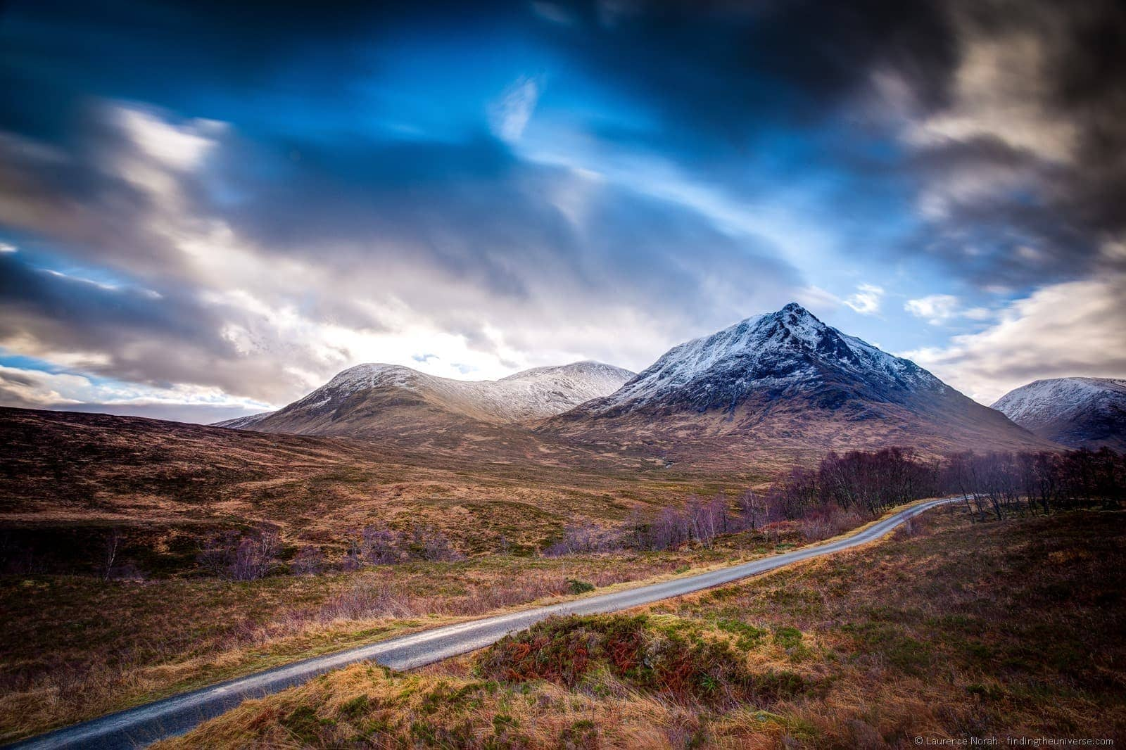 mountains road scotland highlands glencoe clouds