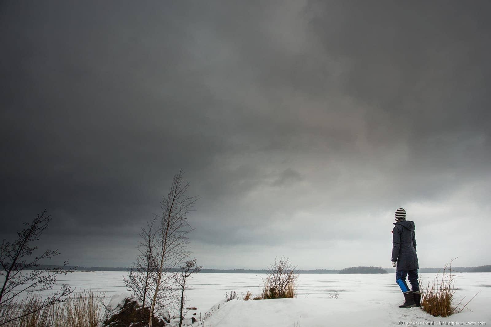 girl in winter scene finland