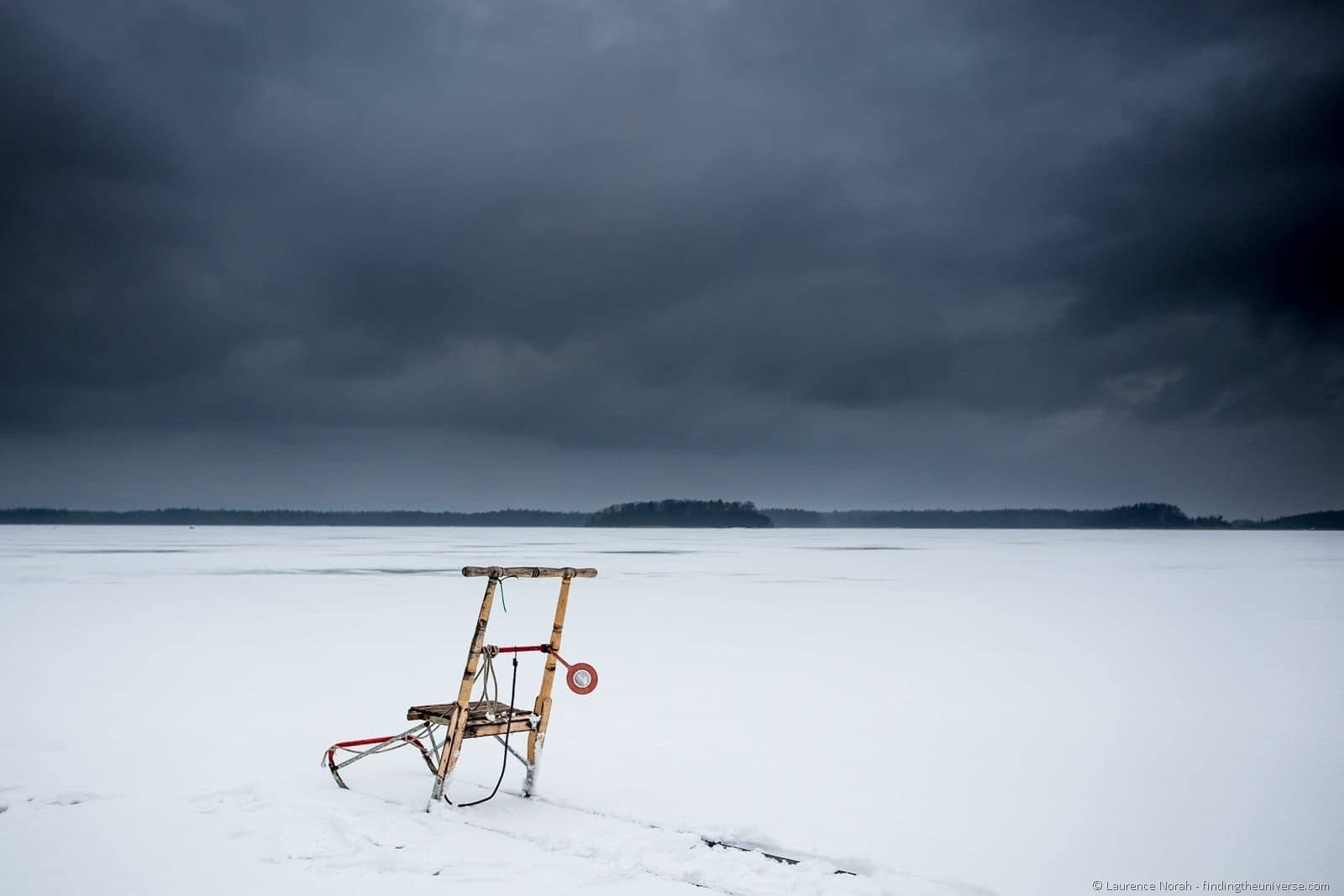 kick sled on frozen sea finland