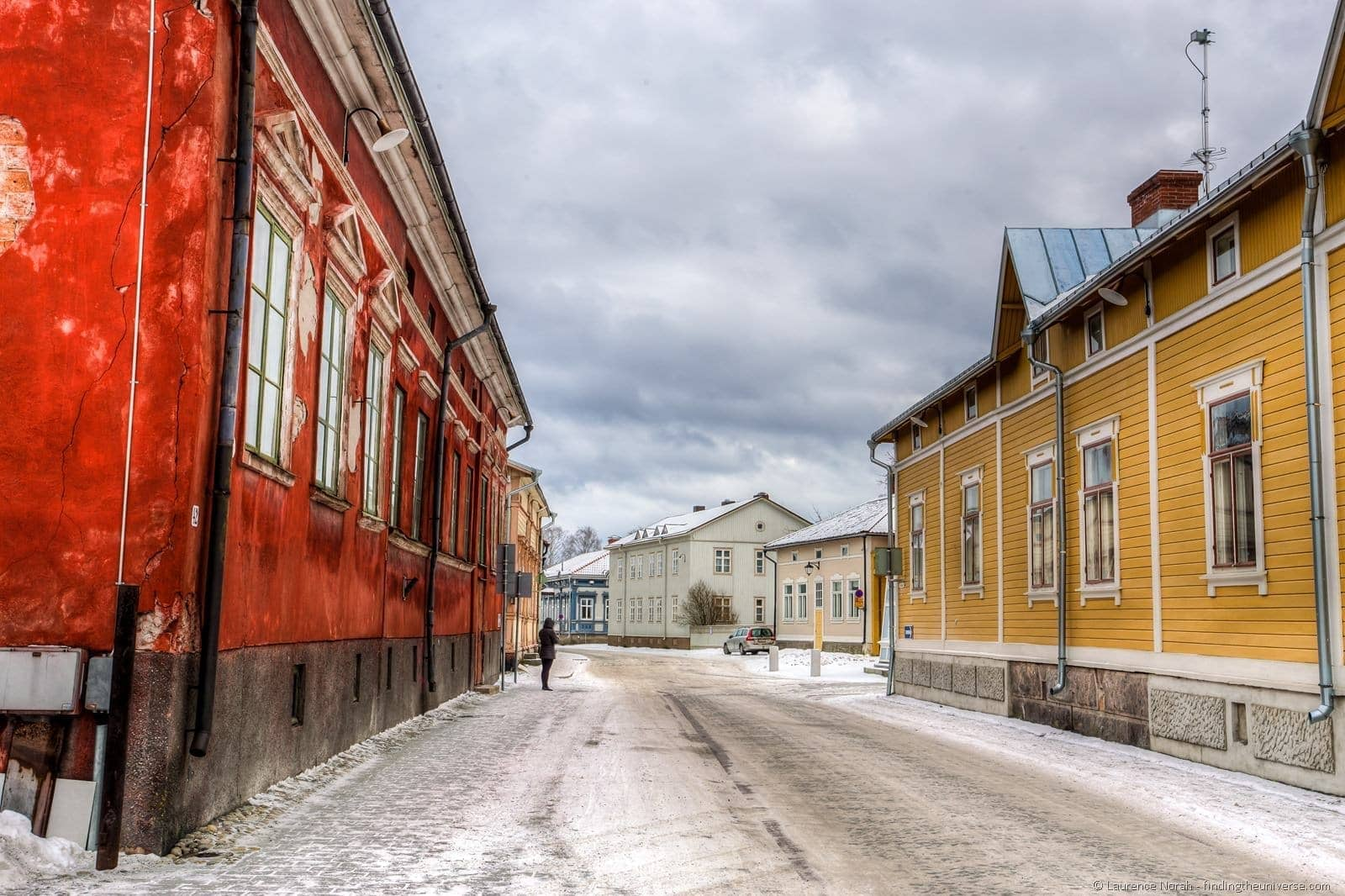 person standing alone rauma old town