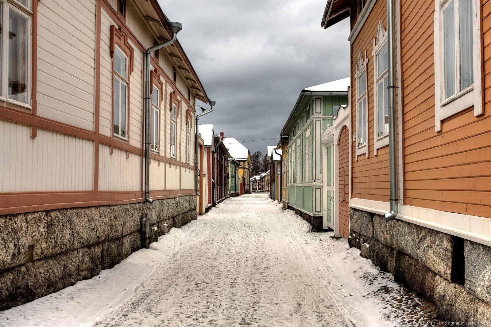 rauma old town streets snow finland wooden houses