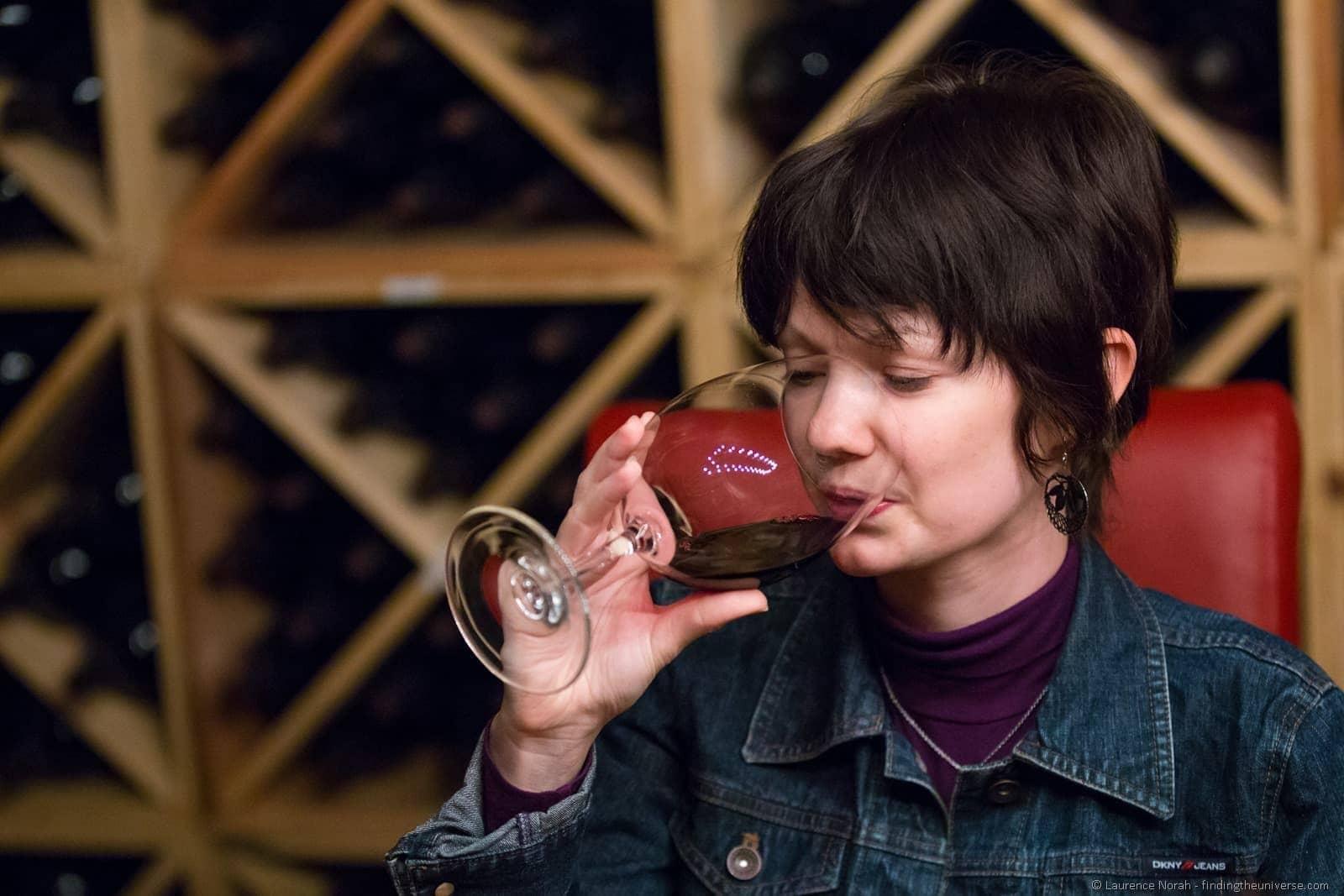Jess wine tasting Pepper Bridge winery