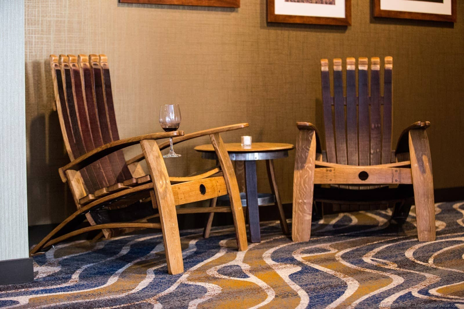 chairs made from wine barrells