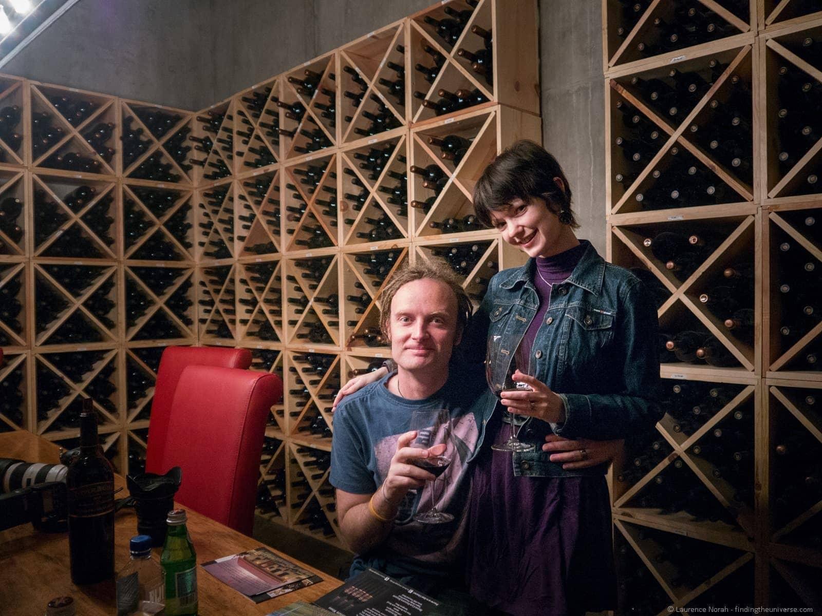 laurence and jessica wine tasting pepper bridge