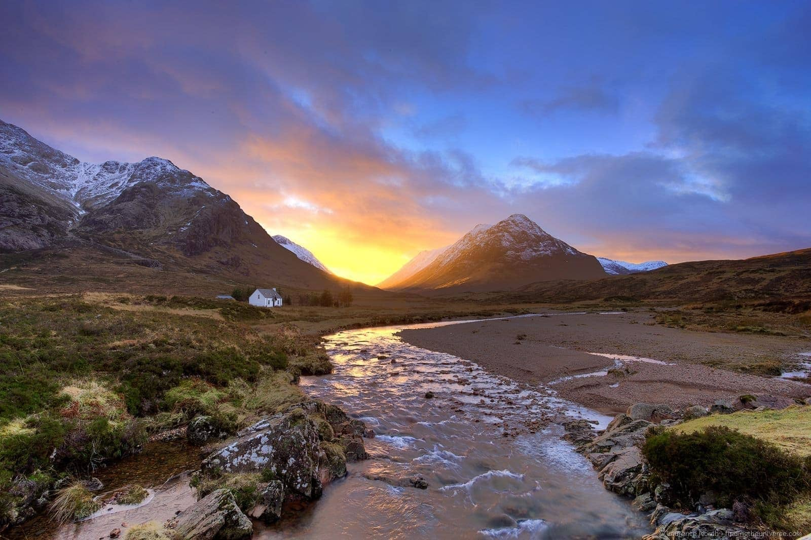 small cottage glencoe sunset valley scotland - scaled
