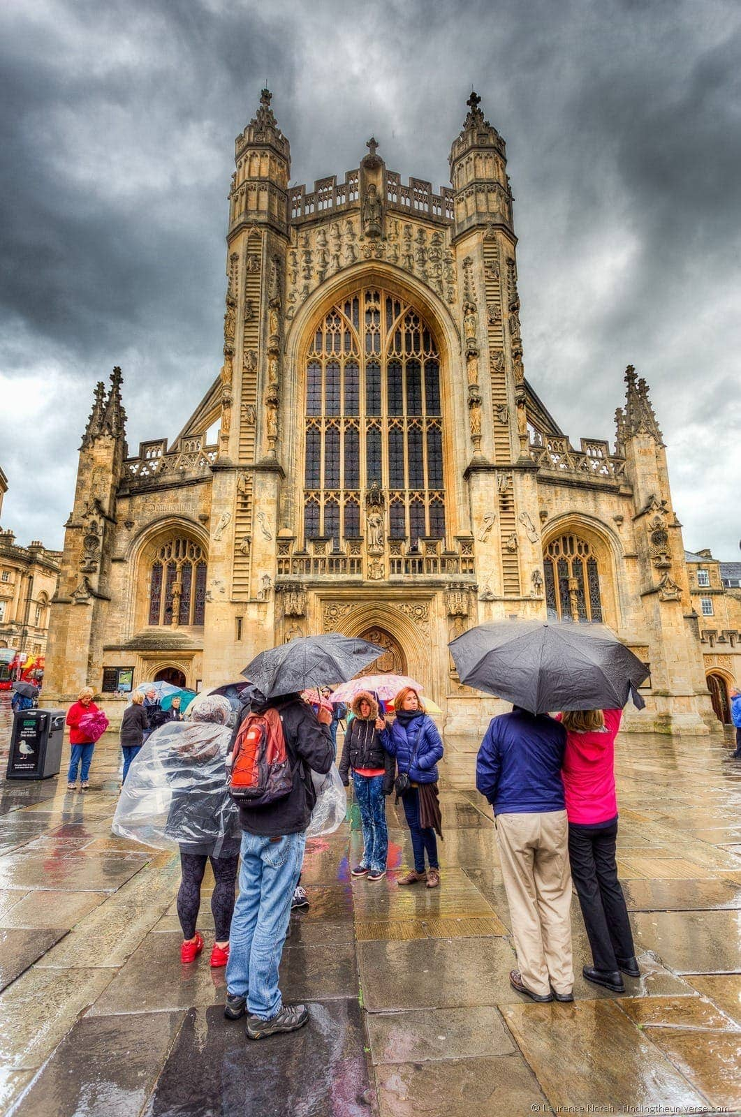Bath cathedral rain