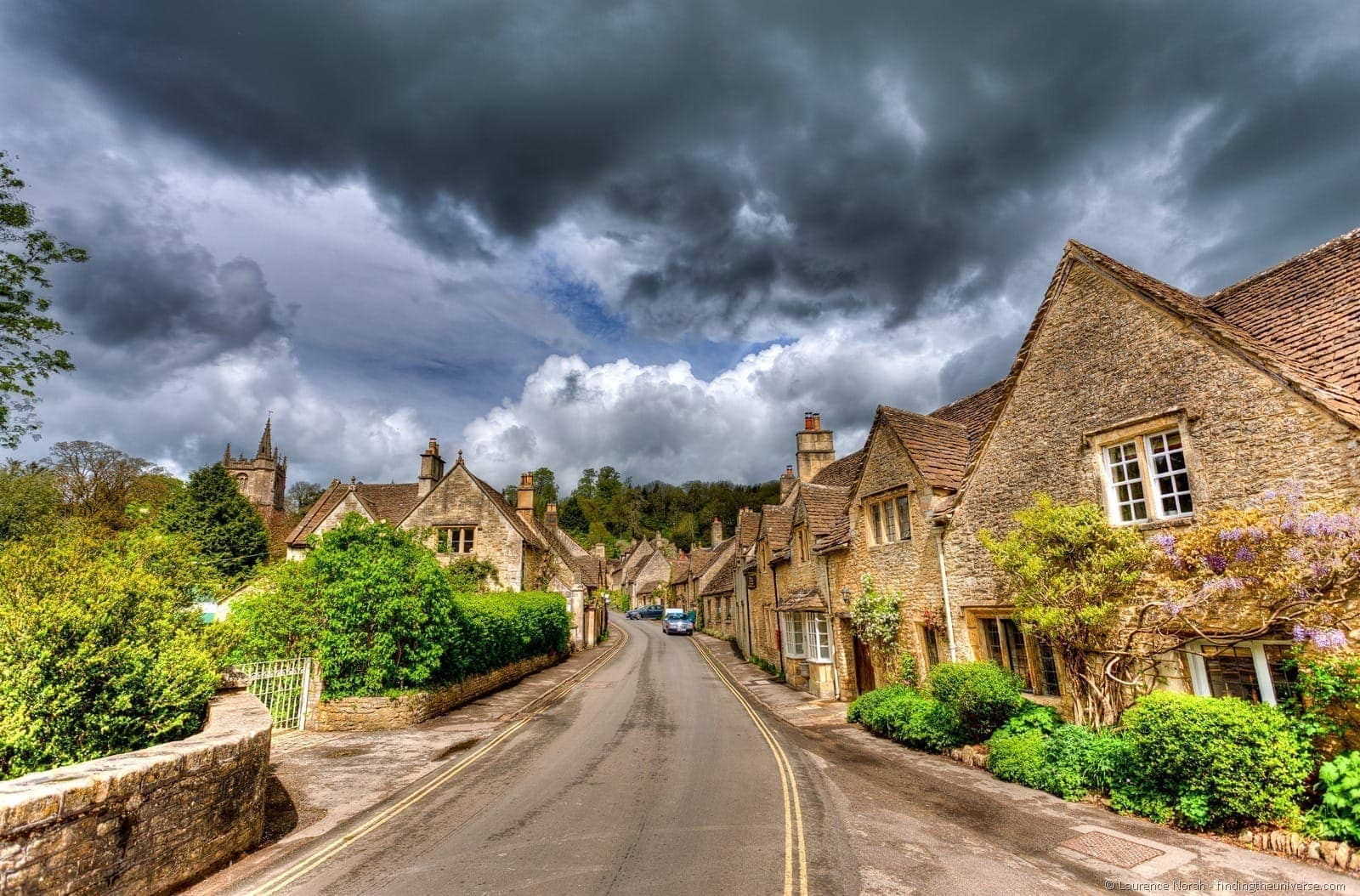 Cotswold village Castle Combe clouds