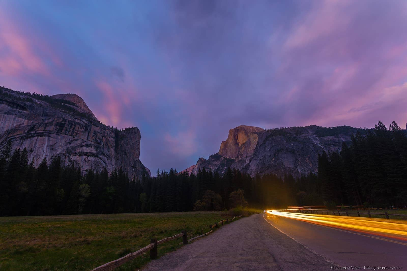 Lights and half dome yoesmite sunset