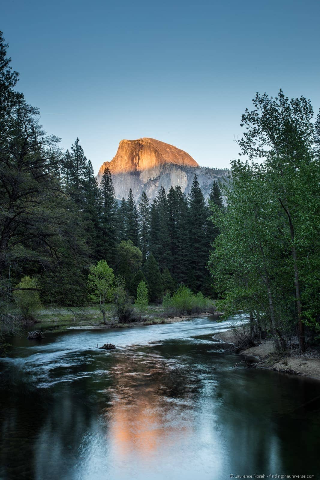 Sunset view of half dome Yosemite