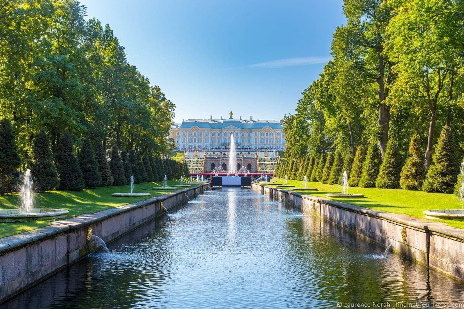 Peterhof palace main cascade and palace fountains