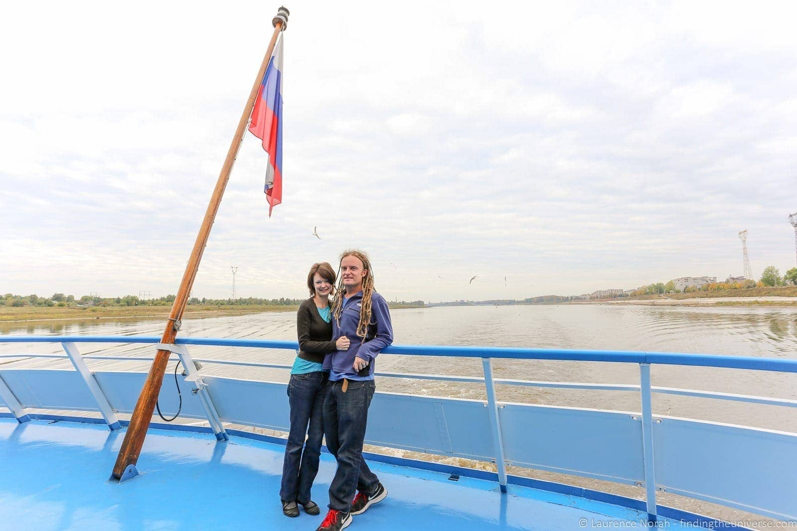 Russia river cruise couple on boat