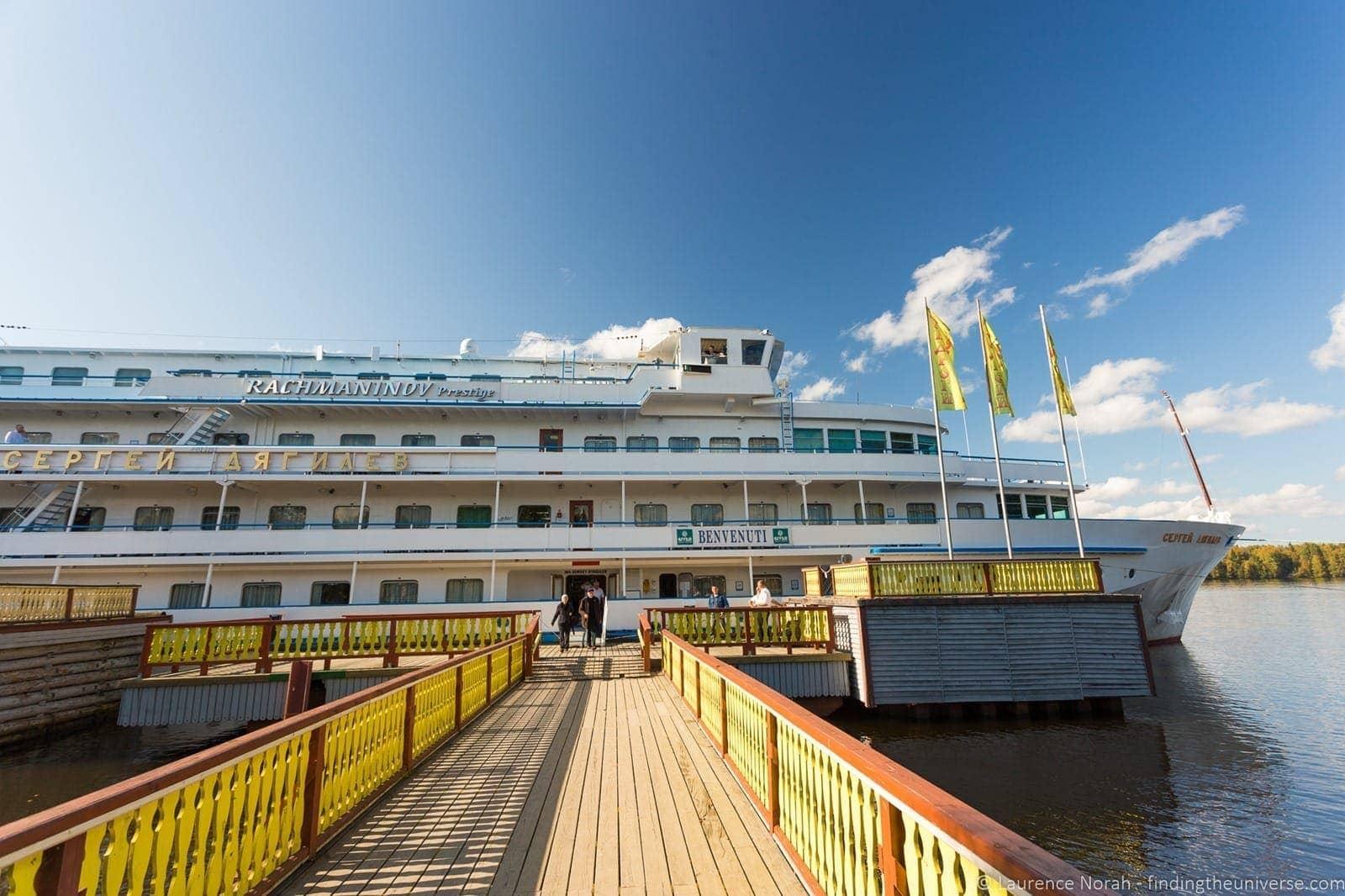 Russia river cruise boat Mandrogi island