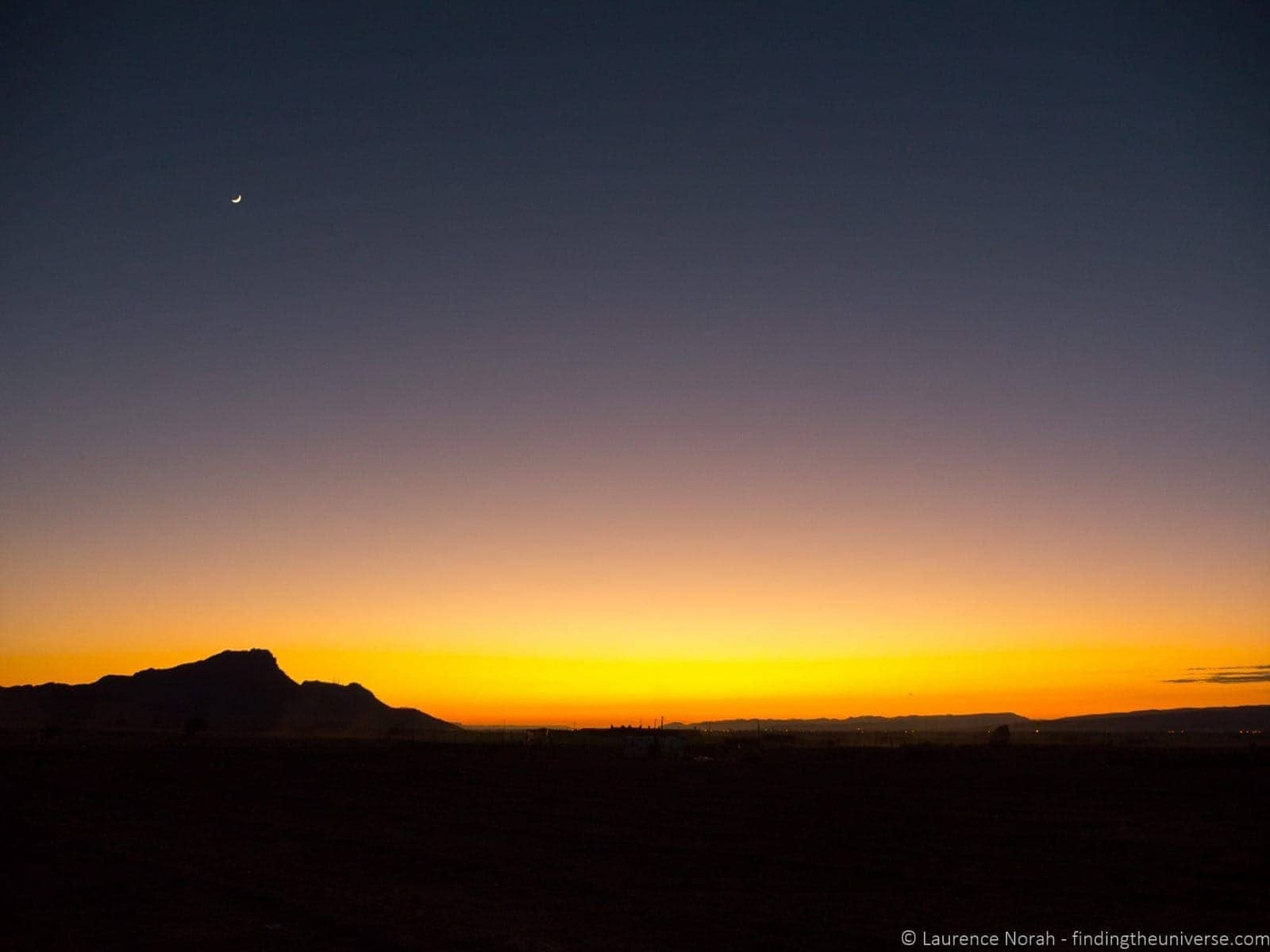Sunset in desert Morcco with moon